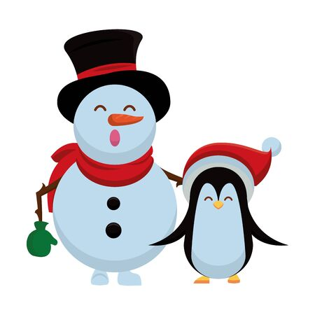merry christmas snowman and penguin vector illustration design