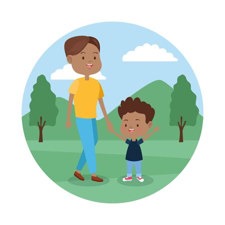 cartoon happy man with his son in the park over white background, colorful design , vector illustration