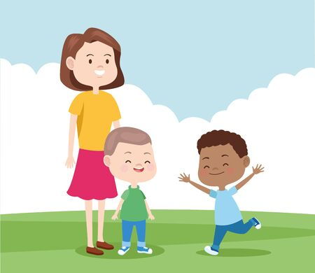 cartoon mother with her sons in the park, colorful design , vector illustration