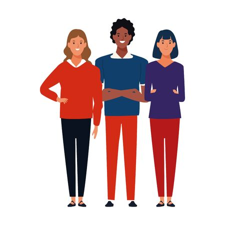 cartoon man and two women standing icon over white background, colorful design. vector illustration