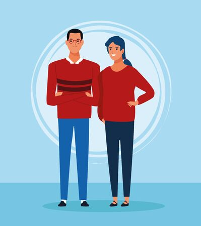cartoon man and woman standing and wearing red sweaters over blue background, colorful design. vector illustration
