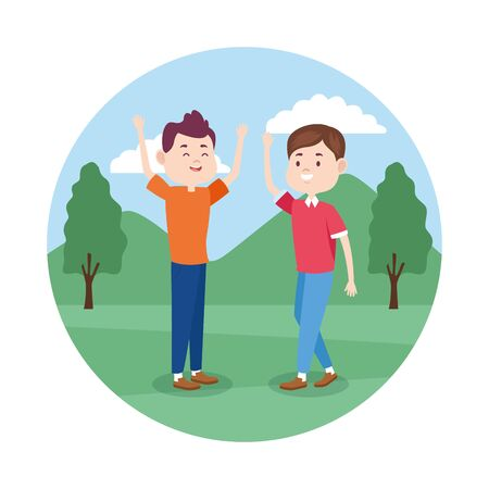 happy friends in the park, colorful design , vector illustration