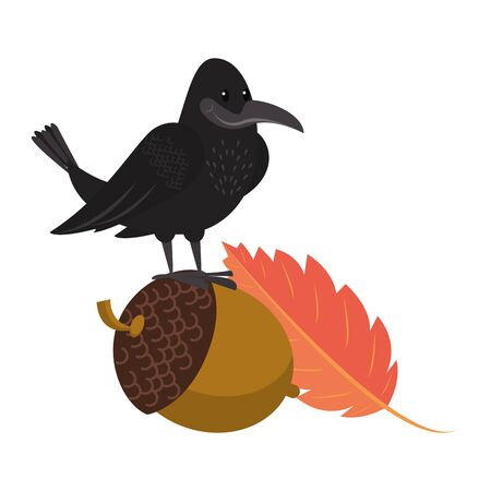 Wild animals and autumn season cartoons crow on nut and leaf vector illustration graphic design