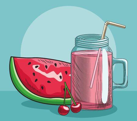 slice watermelon cherry and juice fresh fruit food healthy vector illustration