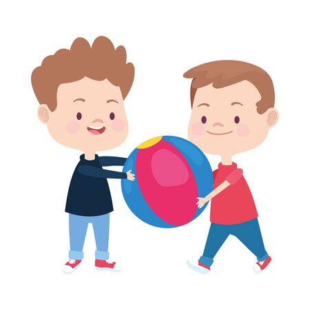 two boys playing with a ball over white background, colorful design. vector illustration