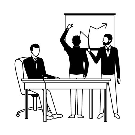business business people businessman wearing beard and using a wand pointing a data chart, businessman back view pointing a data chart and businessman sitting on a desk avatar cartoon character in black and white