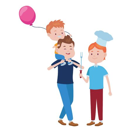 young father with son and balloon helium vector illustration design Ilustrace