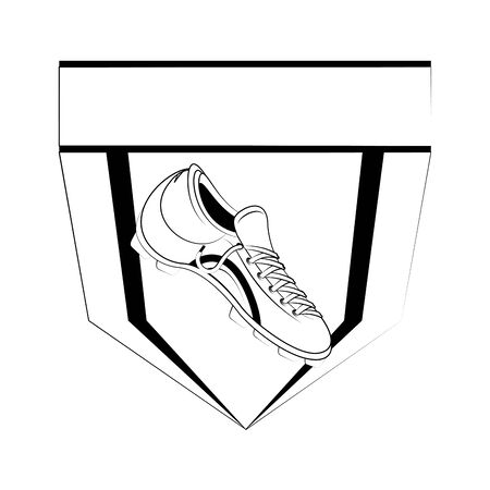 Soccer football sport game emblem team with boot vector illustration graphic design