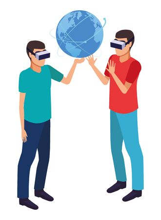 virtual reality technology, young men friends living a modern digital experience with headset glassestouching world map cartoon vector illustration graphic design Illustration