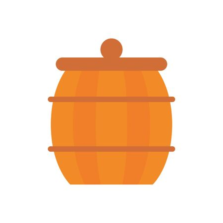 wooden barrel pot isolated icon vector illustration design