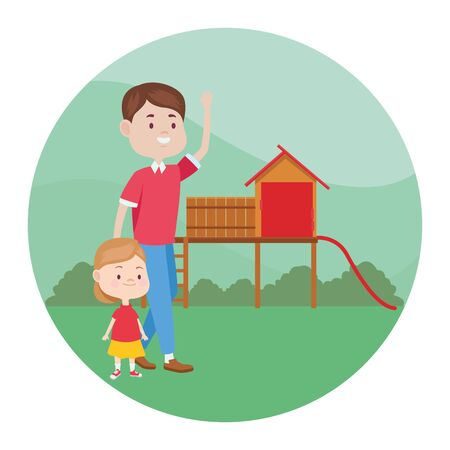 young father with daughter in the park vector illustration design