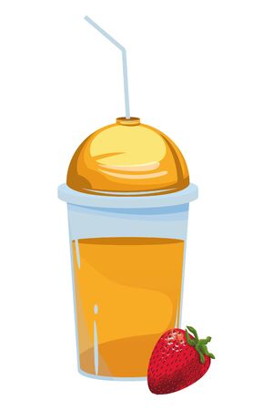 tropical fruit and smoothie drink with strawberry icon cartoon vector illustration graphic design