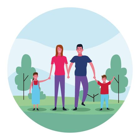 cartoon happy family with kids having fun in the park over white background, colorful design. vector illustration 向量圖像