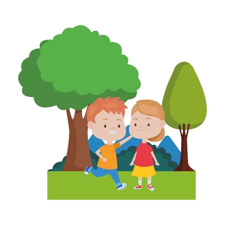 Happy kids boy and girl smiling and playing in the nature with trees and bushes ,vector illustration graphic design.