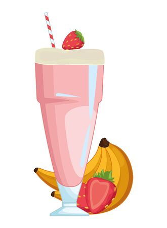 Delicious and natural juice with banana and strawberries fruit vector illustration graphic design Ilustracja