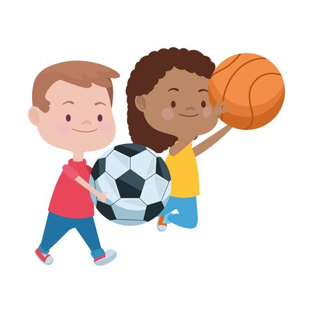 cute little kids playing soccer and basketball characters vector illustration design
