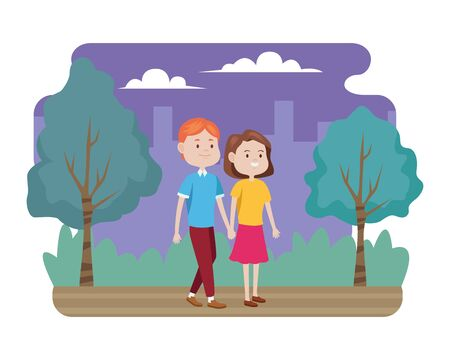 young couple characters in the field vector illustration design Illusztráció