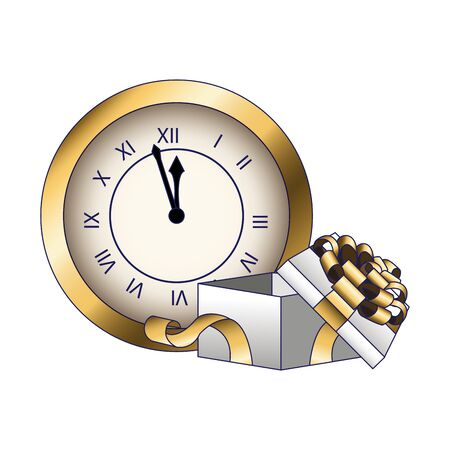 vintage clock and gift box over white background, colorful design, vector illustration Illustration