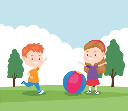 happy little boy and girl playing ball in the park, colorful design , vector illustration