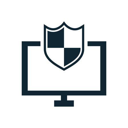 computer desktop with shield security vector illustration design Illustration