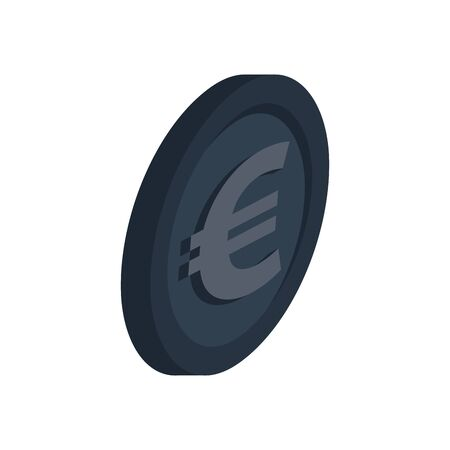 euro coin money symbol icon vector illustration design