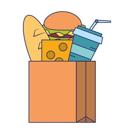 Food hamburger bread milk and cheese in bag symbol vector illustration graphic design