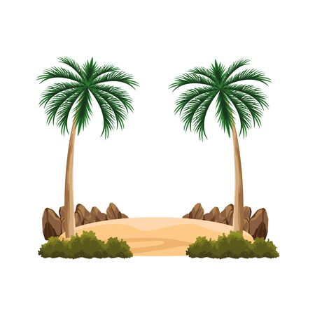 beac palms icon over white background, vector illustration