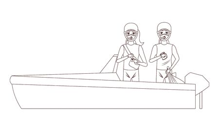 boat boarding with two person with scuba icon cartoon in black and white vector illustration graphic design Stock Illustratie