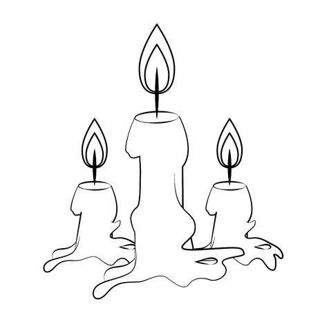candle light fire flame isolated cartoon vector illustration graphic design
