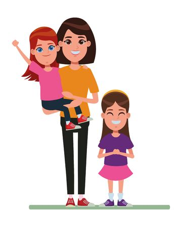 family avatar mother with short hair carrying a young girl next to a child profile picture cartoon character portrait vector illustration graphic design Ilustração