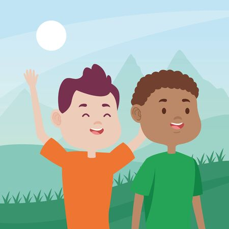 young men friends characters in the field vector illustration design Иллюстрация
