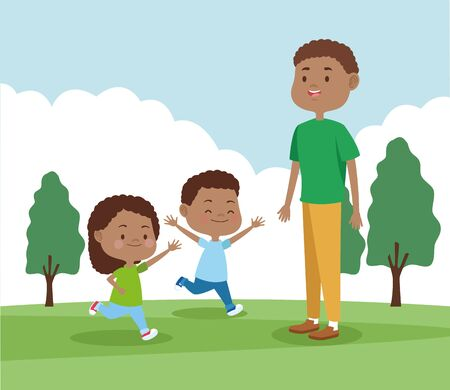 cartoon father playing with his kids in the park, colorful design , vector illustration