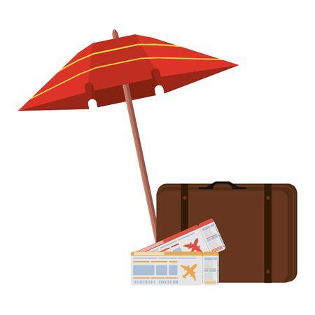Summer suitcase umbrella and flight tickets cartoons vector illustration graphic design Vektoros illusztráció