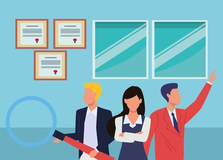 Group of business partners with business and symbols, executive entrepreneur teamwork inside office building scenery ,vector illustration graphic design. Иллюстрация