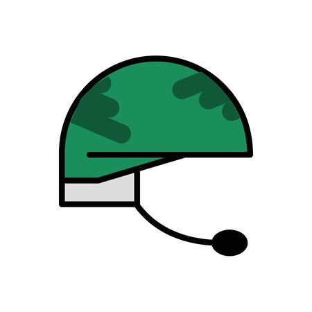 military force helmet with microphone isolated icon vector illustration