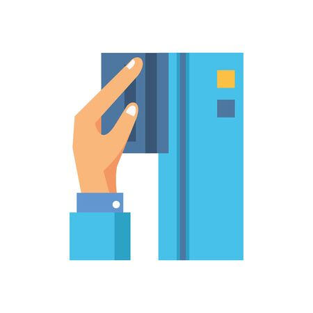 hand with credit card ecommerce icon vector illustration design