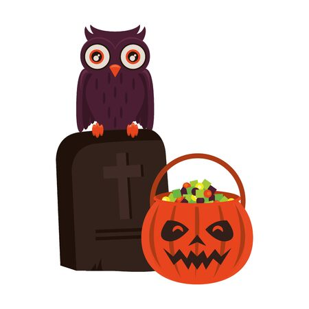 halloween october scary celebration, pumpkin candys pot with stone and owl cartoon vector illustration graphic design