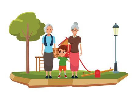 Family grandparents hand of with grandson cartoons with park playground games scenery ,vector illustration graphic design. Иллюстрация