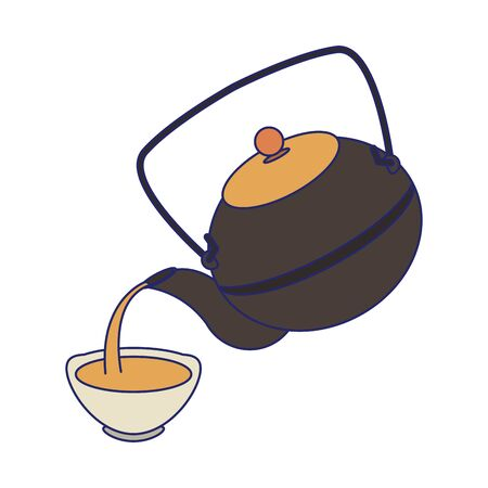 Japanese cast iron teapot and cup over white background, vector illustration
