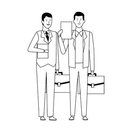 two business men holding a portfolios over white background, flat design. vector illustration