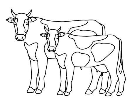 farm, animals and farmer two cow icon cartoon in black and white vector illustration graphic design 일러스트