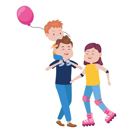 parents with son and balloon helium vector illustration design