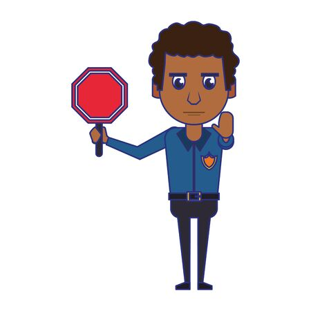 afro policeman working with roadsign avatar cartoon character vector illustration graphic design Ilustracja