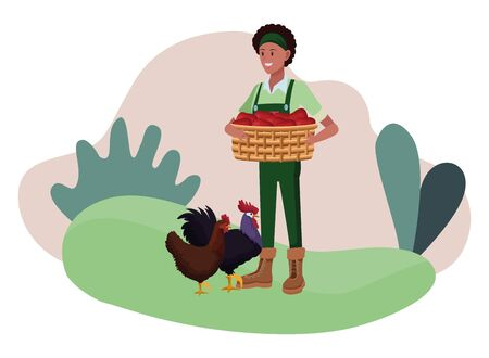 farm, animals and farmer afroamerican woman holding a wicker basket with rooster and hen avatar cartoon character over the grass with shruberry and plants vector illustration graphic design