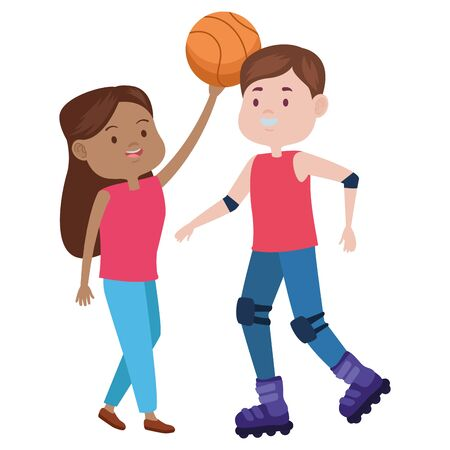 young couple characters playing basketball vector illustration design