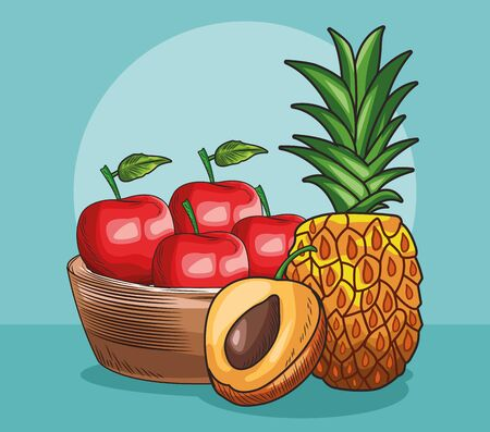 fresh fruit peach pineapple basket with apples food healthy vector illustration Ilustrace