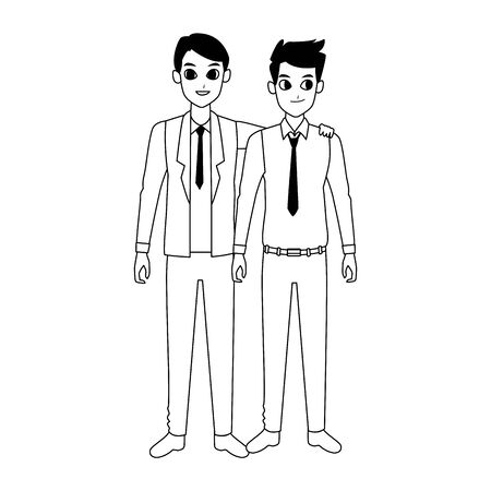 happy businessmen standing cartoon icon over white background, vector illustration