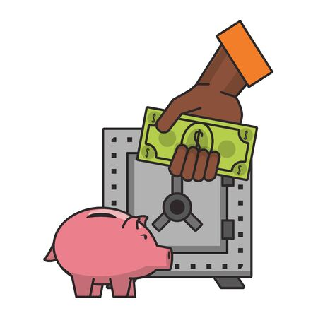 Money piggy and strongbox with hand holding cash vector illustration Stock Illustratie