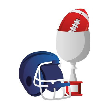 american football sport game helmet with trophy and ball cartoon vector illustration graphic design