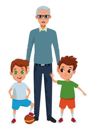 Family grandchildren and grandfather of hand vector illustration graphic design vector illustration graphic design